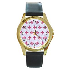 ROYAL1 WHITE MARBLE & PINK DENIM Round Gold Metal Watch