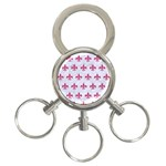 ROYAL1 WHITE MARBLE & PINK DENIM 3-Ring Key Chains Front