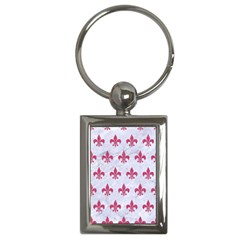ROYAL1 WHITE MARBLE & PINK DENIM Key Chains (Rectangle)