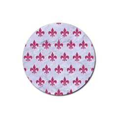ROYAL1 WHITE MARBLE & PINK DENIM Rubber Coaster (Round)