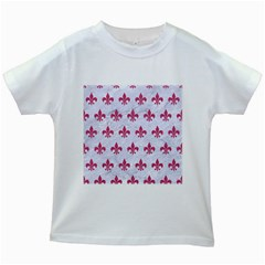 ROYAL1 WHITE MARBLE & PINK DENIM Kids White T-Shirts