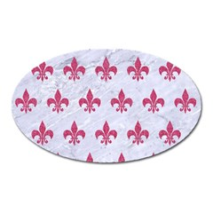 ROYAL1 WHITE MARBLE & PINK DENIM Oval Magnet