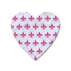 ROYAL1 WHITE MARBLE & PINK DENIM Heart Magnet
