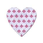 ROYAL1 WHITE MARBLE & PINK DENIM Heart Magnet Front