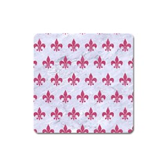 ROYAL1 WHITE MARBLE & PINK DENIM Square Magnet