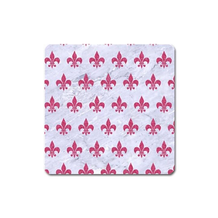 ROYAL1 WHITE MARBLE & PINK DENIM Square Magnet