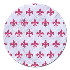 ROYAL1 WHITE MARBLE & PINK DENIM Magnet 5  (Round)