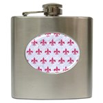 ROYAL1 WHITE MARBLE & PINK DENIM Hip Flask (6 oz) Front