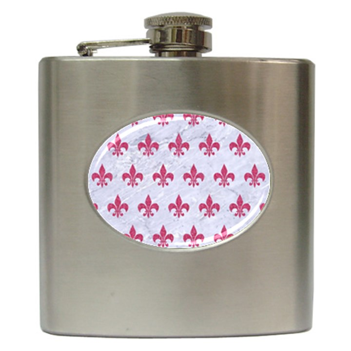 ROYAL1 WHITE MARBLE & PINK DENIM Hip Flask (6 oz)