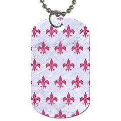 Royal1 White Marble & Pink Denim Dog Tag (two Sides) by trendistuff