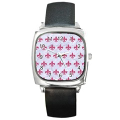 ROYAL1 WHITE MARBLE & PINK DENIM Square Metal Watch