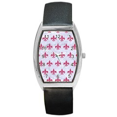ROYAL1 WHITE MARBLE & PINK DENIM Barrel Style Metal Watch