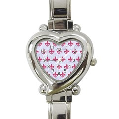 ROYAL1 WHITE MARBLE & PINK DENIM Heart Italian Charm Watch