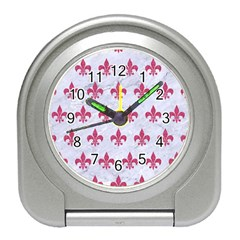 ROYAL1 WHITE MARBLE & PINK DENIM Travel Alarm Clocks