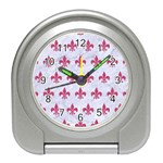 ROYAL1 WHITE MARBLE & PINK DENIM Travel Alarm Clocks Front