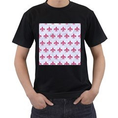 ROYAL1 WHITE MARBLE & PINK DENIM Men s T-Shirt (Black) (Two Sided)
