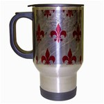 ROYAL1 WHITE MARBLE & PINK DENIM Travel Mug (Silver Gray) Left