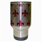 ROYAL1 WHITE MARBLE & PINK DENIM Travel Mug (Silver Gray) Center