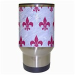 ROYAL1 WHITE MARBLE & PINK DENIM Travel Mugs (White) Center