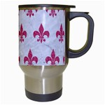 ROYAL1 WHITE MARBLE & PINK DENIM Travel Mugs (White) Right