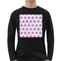 ROYAL1 WHITE MARBLE & PINK DENIM Long Sleeve Dark T-Shirts