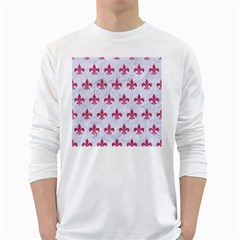 ROYAL1 WHITE MARBLE & PINK DENIM White Long Sleeve T-Shirts