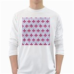 ROYAL1 WHITE MARBLE & PINK DENIM White Long Sleeve T-Shirts Front