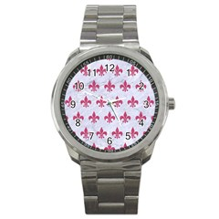 ROYAL1 WHITE MARBLE & PINK DENIM Sport Metal Watch