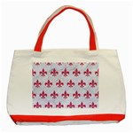 ROYAL1 WHITE MARBLE & PINK DENIM Classic Tote Bag (Red) Front