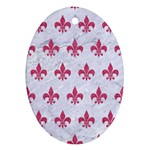 ROYAL1 WHITE MARBLE & PINK DENIM Oval Ornament (Two Sides) Front