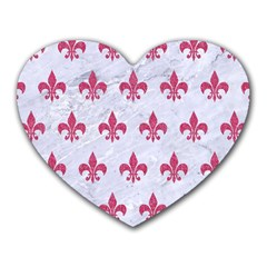 ROYAL1 WHITE MARBLE & PINK DENIM Heart Mousepads