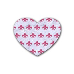 ROYAL1 WHITE MARBLE & PINK DENIM Rubber Coaster (Heart)