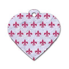 ROYAL1 WHITE MARBLE & PINK DENIM Dog Tag Heart (One Side)