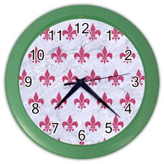 ROYAL1 WHITE MARBLE & PINK DENIM Color Wall Clocks