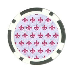 ROYAL1 WHITE MARBLE & PINK DENIM Poker Chip Card Guard