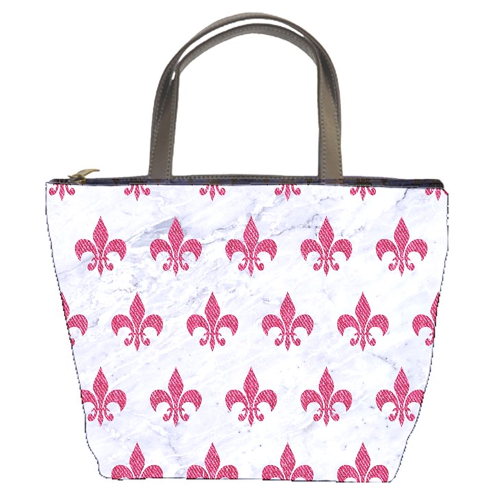 ROYAL1 WHITE MARBLE & PINK DENIM Bucket Bags