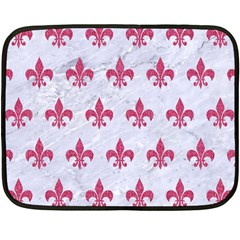 ROYAL1 WHITE MARBLE & PINK DENIM Double Sided Fleece Blanket (Mini)