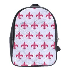 ROYAL1 WHITE MARBLE & PINK DENIM School Bag (Large)