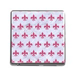 ROYAL1 WHITE MARBLE & PINK DENIM Memory Card Reader (Square) Front