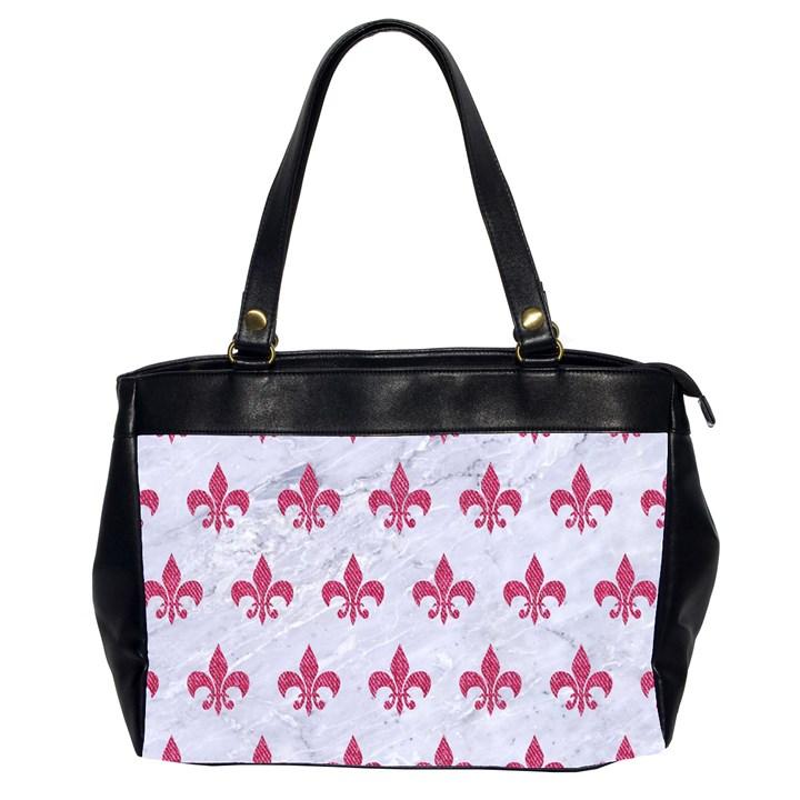 ROYAL1 WHITE MARBLE & PINK DENIM Office Handbags (2 Sides)
