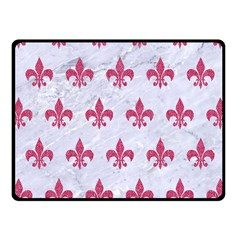 ROYAL1 WHITE MARBLE & PINK DENIM Fleece Blanket (Small)