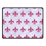 ROYAL1 WHITE MARBLE & PINK DENIM Fleece Blanket (Small) 50 x40 Blanket Front