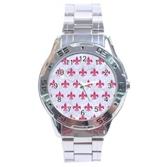 ROYAL1 WHITE MARBLE & PINK DENIM Stainless Steel Analogue Watch