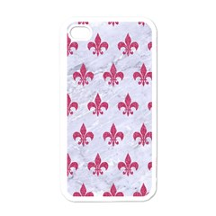ROYAL1 WHITE MARBLE & PINK DENIM Apple iPhone 4 Case (White)