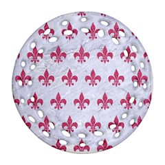 ROYAL1 WHITE MARBLE & PINK DENIM Ornament (Round Filigree)