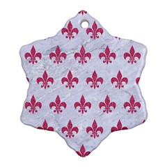 ROYAL1 WHITE MARBLE & PINK DENIM Ornament (Snowflake)
