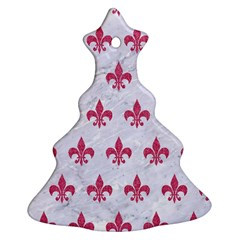 ROYAL1 WHITE MARBLE & PINK DENIM Ornament (Christmas Tree)