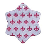 ROYAL1 WHITE MARBLE & PINK DENIM Snowflake Ornament (Two Sides) Back