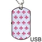 ROYAL1 WHITE MARBLE & PINK DENIM Dog Tag USB Flash (Two Sides) Back