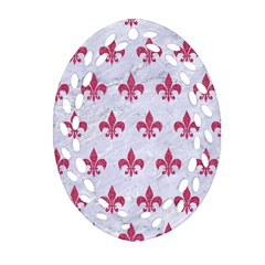 ROYAL1 WHITE MARBLE & PINK DENIM Oval Filigree Ornament (Two Sides)